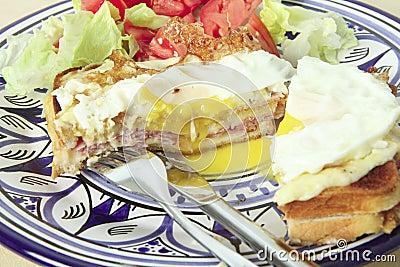 Croque madame horizontal with salad