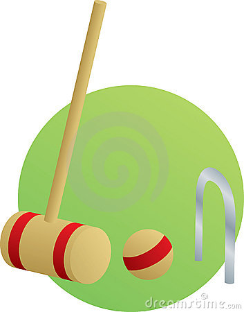 Croquet game with mallet and ball