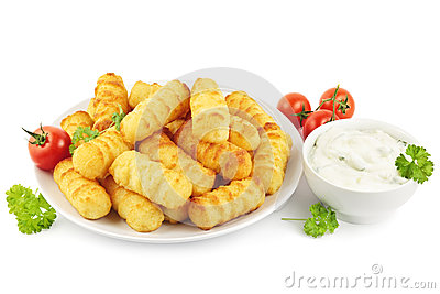 Croquettes and sour cream