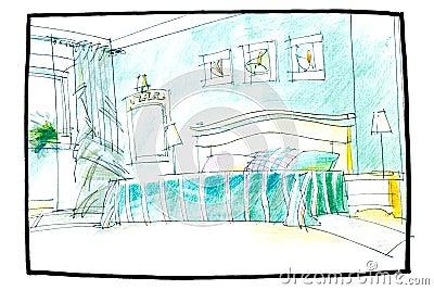 Croquis d 39 une chambre coucher photo stock image 56547875 for Aeration d une chambre sans fenetre