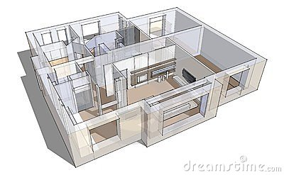 Croquis de l 39 appartement 3d images libres de droits for Conception 3d appartement