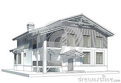 croquis de la maison avec le toit carrel photographie stock libre de droits image 20930597. Black Bedroom Furniture Sets. Home Design Ideas