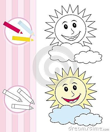 Croquis de livre de coloration : le soleil heureux