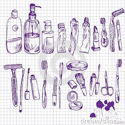 Croquis des objets de salle de bains illustration de vecteur image 54922018 - Croquis de salle de bain ...