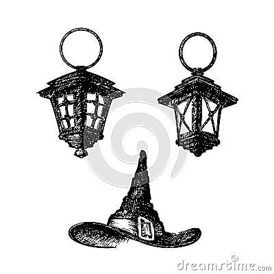 croquis dessin par chapeau de lampe et de sorci re. Black Bedroom Furniture Sets. Home Design Ideas