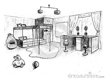 Croquis graphique d 39 une chambre coucher int rieure image - Croquis chambre a coucher ...