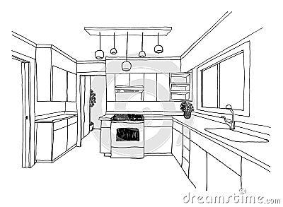 Croquis graphique la cuisine illustration stock image for Cuisine 3d dessin