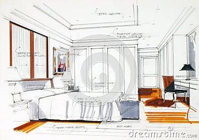 Croquis graphique une chambre coucher photo libre de - Croquis chambre a coucher ...