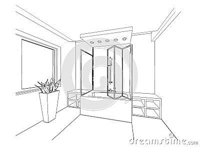 Croquis graphique une salle de bains illustration stock for Croquis de salle de bain