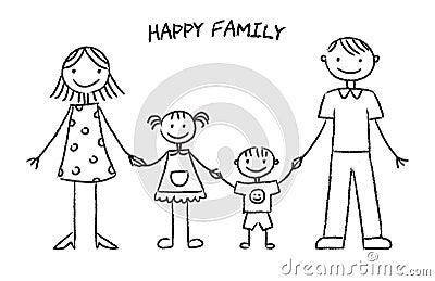 Croquis Heureux De Famille Illustration De Vecteur - Image 49413921