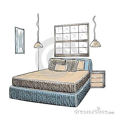 Croquis int rieur moderne de chambre coucher - Croquis chambre a coucher ...