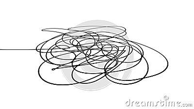 Croquis tir? par la main ou ligne noire forme abstraite sph?rique de gribouillage d'embrouillement de griffonnage illustration de vecteur