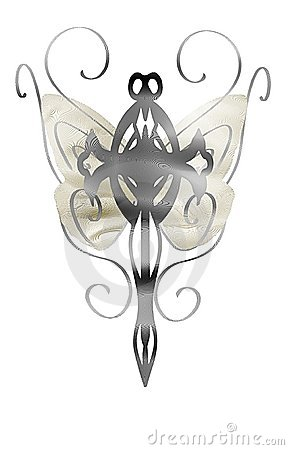 isolated Cross with stylized butterfly wings