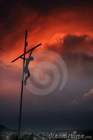 Cross Silhouette and Amazing Red Sky