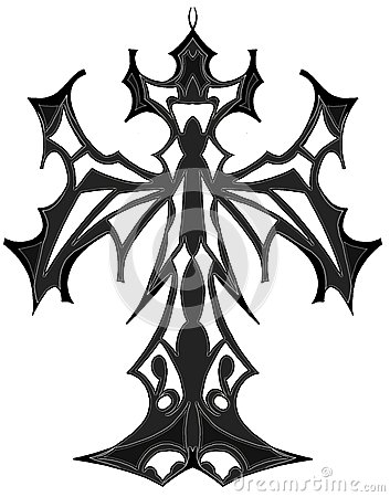 artistic gothic isolated Cross in grey tones