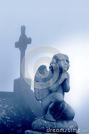 Free Cross And Praying Angel  Stock Image - 12121981