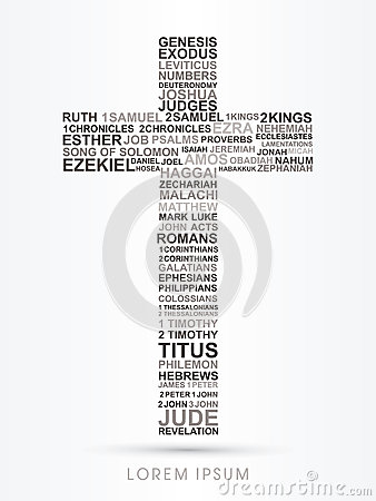 Cross with bible words genesis to revelation Vector Illustration