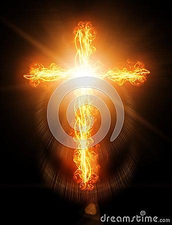 Free Cross Burning In Fire Stock Photo - 22857600