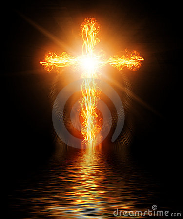 Free Cross Burning In Fire Royalty Free Stock Photography - 22857607