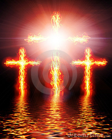 Free Cross Burning In Fire Royalty Free Stock Photo - 22857615