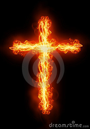 Free Cross Burning In Fire Stock Photography - 22858512