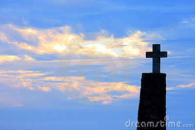 Cross of Cabo da Roca at sunset, Portugal