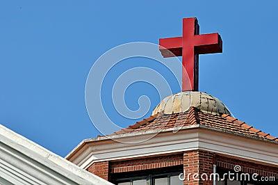 Cross on Christian church roof