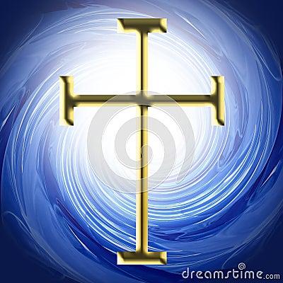 Golden Cross Christian Symbol