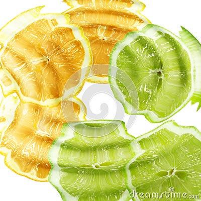 Cross a citrus fruits under water