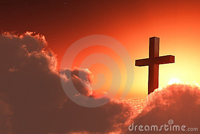 Cross in clouds