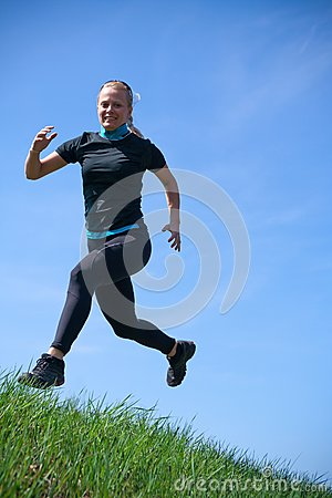 Cross country running, sporty woman