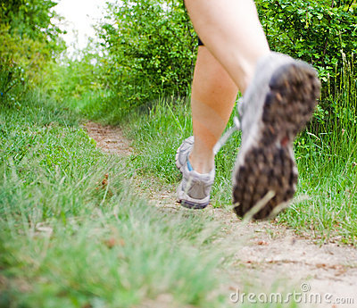 Cross country running woman, sport shoes