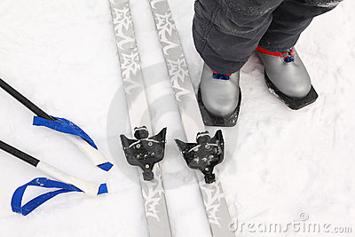 Cross-country ski and boots of boy