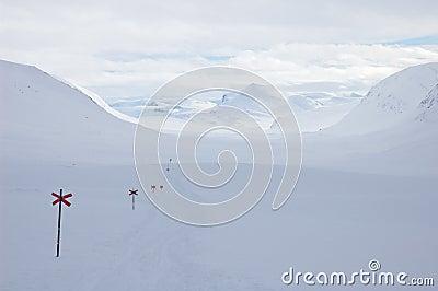 Cross country ski hiking trail Kungsleden