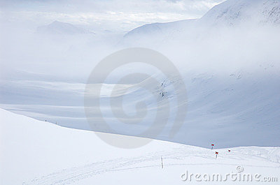 Cross country ski hiking trail Kungsleden