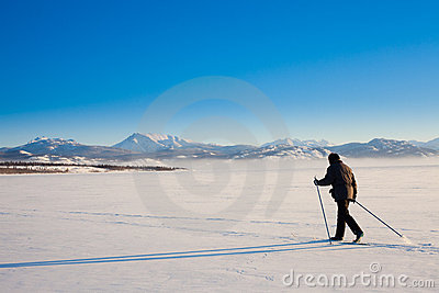 Cross-Country Skier long shadow