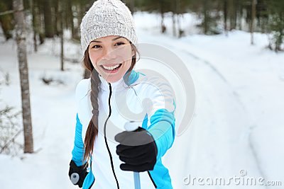 Cross-country skiing woman on ski