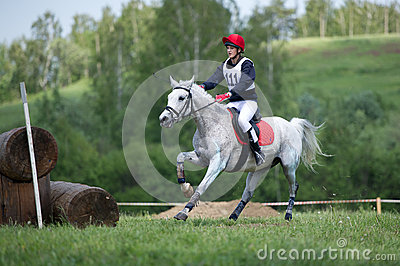 Cross-country. Unidentified rider on horse Editorial Image