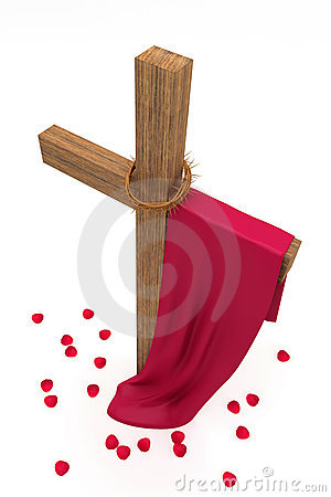 Cross, crown of thorns, the cloth
