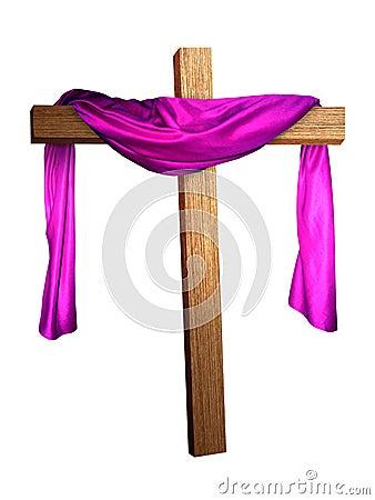 Cross Draped in Purple