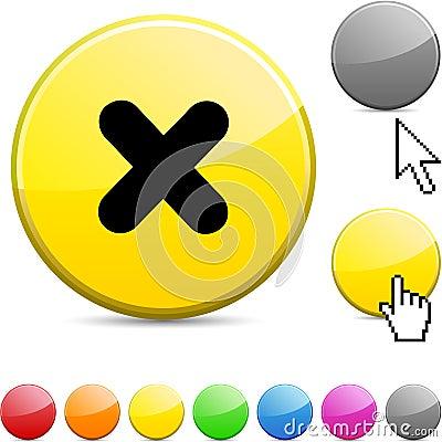Cross glossy button.