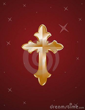 Cross gold on red background