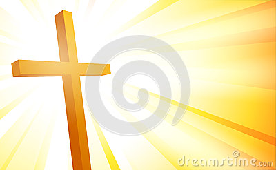 Cross on sunburst background