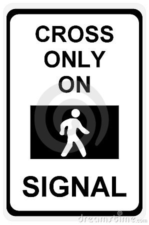Cross only on green signal sign