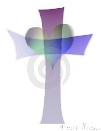 Cross and heart cutout