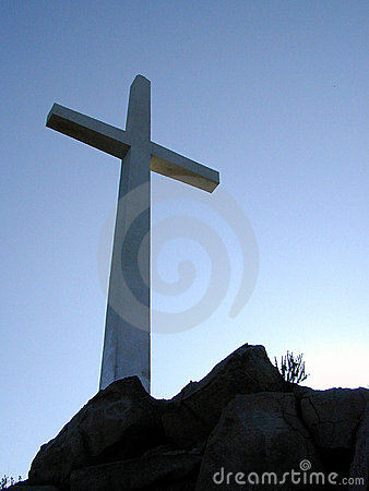 Cross on the Hilltop Stock Photo