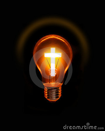 Cross Light Bulb Christian Spiritual