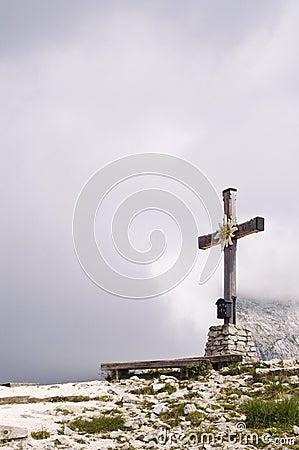 Cross on mountain peak