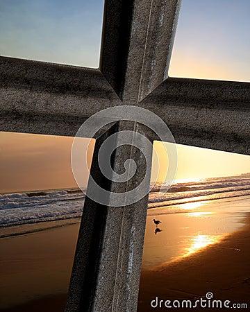 Cross On Ocean Sunset