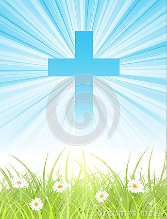 Free Cross On Blue Sky, With Sun Rays And Green Lawn Royalty Free Stock Photo - 28993215